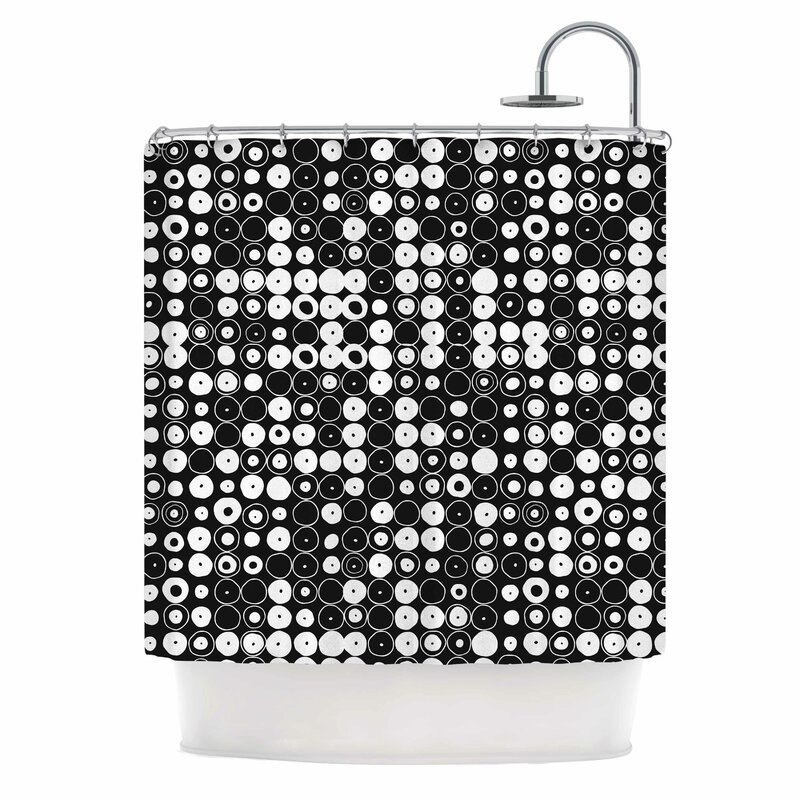 White Black Funny Polka Dots Shower Curtain