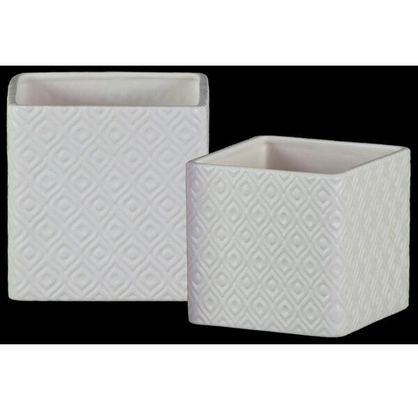 Beedeville Square Shaped 2-Piece Ceramic Pot Planter Set (Set of 2) by Bungalow Rose