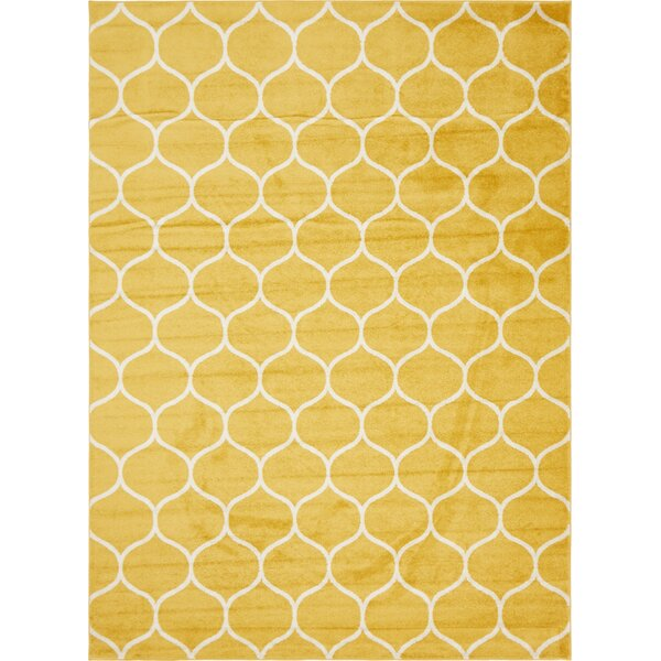 Easter Compton Trellis Yellow Area Rug by Breakwater Bay
