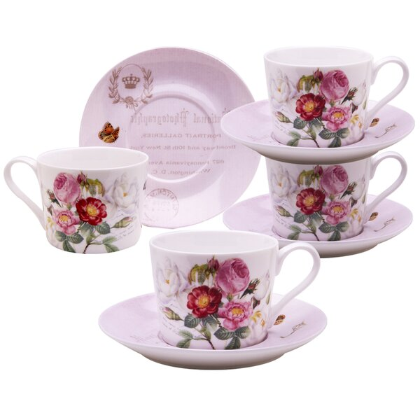 Figaro Botanical Pink Butterfly Porcelain Coffee Cup and Saucer (Set of 4) by August Grove