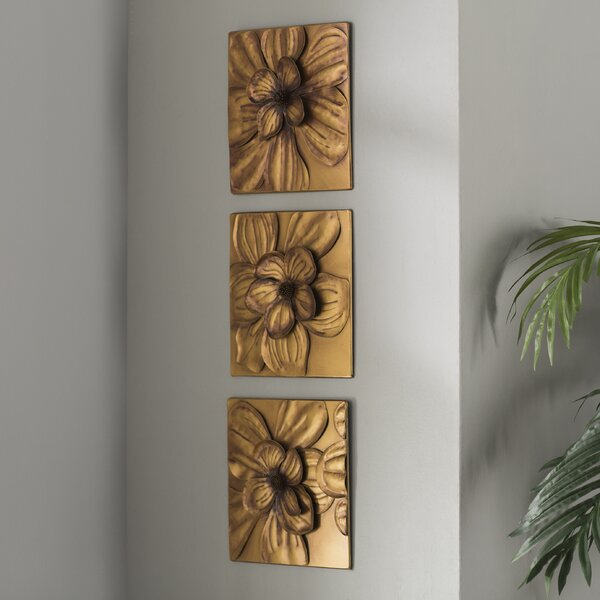 3 Piece Magnolia Brown Panel Wall Décor Set by Th