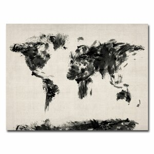 'Abstract Map of the World' by Michael Tompsett Graphic Art on Wrapped Canvas by Trademark Fine Art