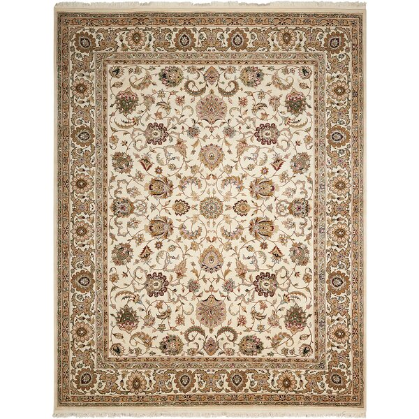 Dunluce Hand-Knotted Wool Ivory Area Rug by Canora Grey