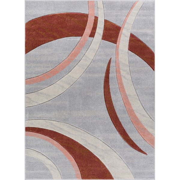 Herring Mid-Century Modern Gray Abstract Area Rug by Ebern Designs