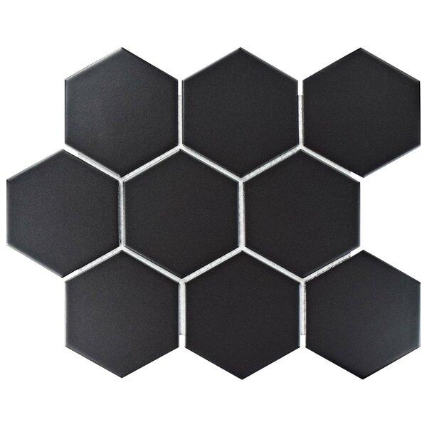 Retro Super Hex 3.73 x 3.73 Porcelain Mosaic Field Tile in Matte Black by EliteTile