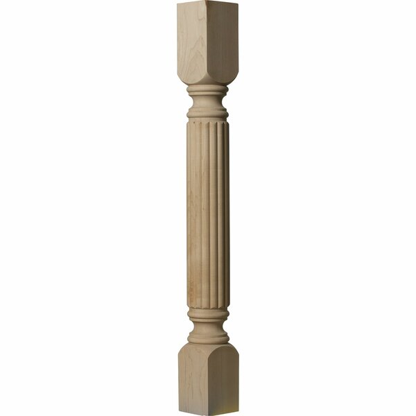 Raymond Reeded 35 1/2H x 3 3/4W x 3 3/4D Cabinet Column in Cherry by Ekena Millwork