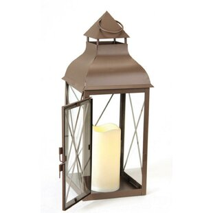 Best Review Metal Lantern with Flameless LED Lantern By Darby Home Co