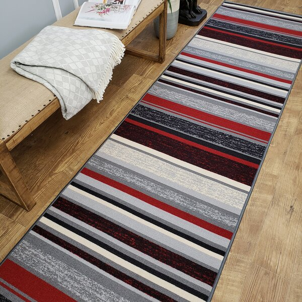 Zlatkus Stripes Rubber Backed Red/Gray Area Rug by Ebern Designs