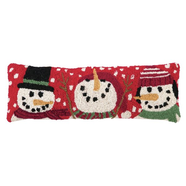 Three Snowmen Hook Wool Throw Pillow by Peking Handicraft
