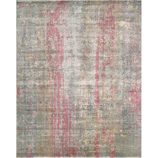 Gemstone Hand-Knotted Wool/Silk Pink/Gray Area Rug by Pasargad