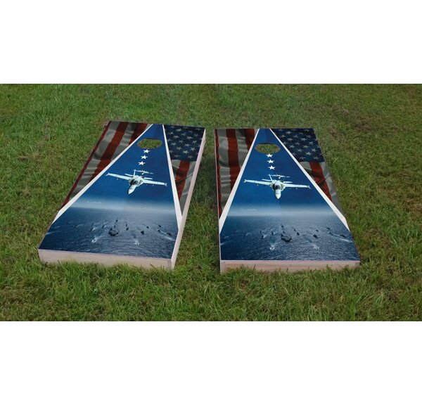 Navy Jets Light Weight Cornhole Game Set by Custom Cornhole Boards