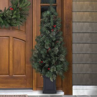 cashmere mixed porch 4 green pine trees artificial christmas tree with 100 lights - Outdoor Artificial Christmas Tree