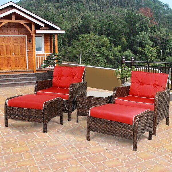Bren Patio 5 Piece Rattan Seating Group with Cushions by Latitude Run