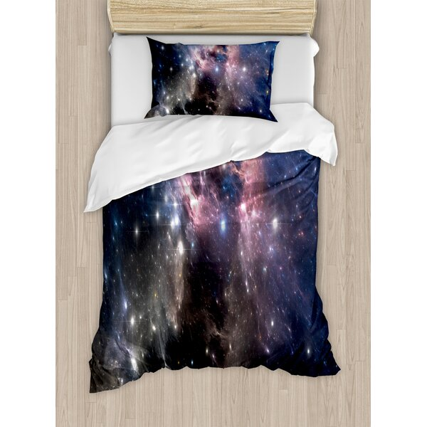 Constellation Giant Nebula in Vivid Colors Space Motion Supernova Futuristic Duvet Set by Ambesonne