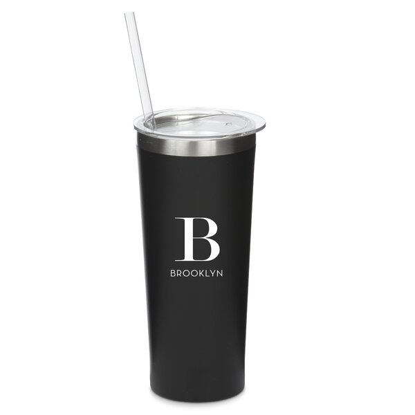 Staggs Personalized Serif Monogram 22 oz. Stainless Steel Travel Tumbler by Ebern Designs