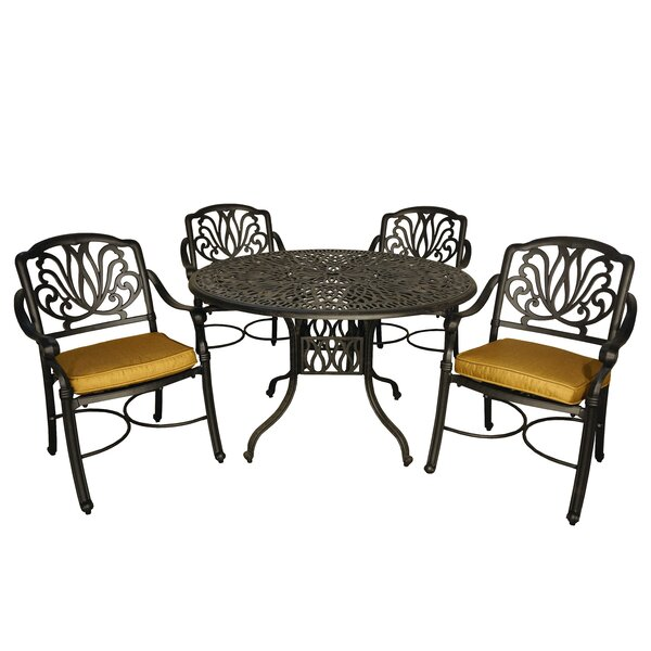 Wasserhund 5 Piece Dining Set with Cushions by Astoria Grand