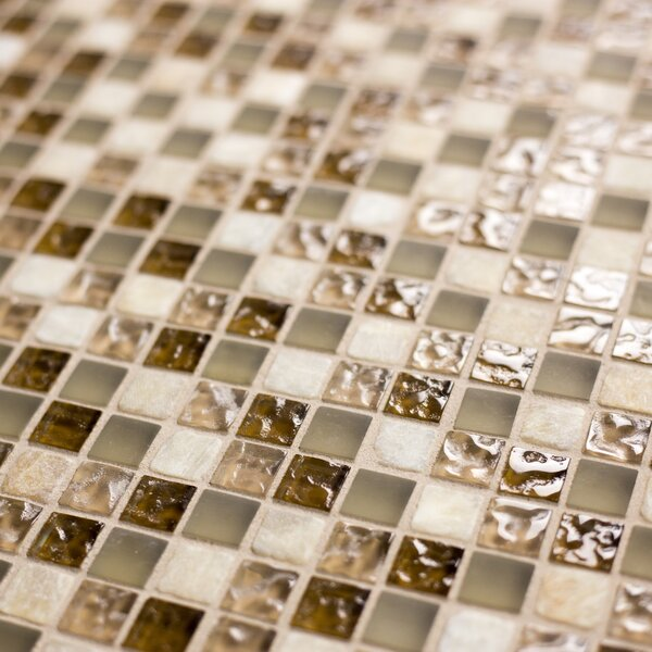 Quartz 0.63 x 0.63 Glass and Stone Mosaic Tile in Deserto by Abolos