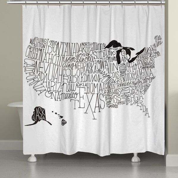 Hand Lettered US Map Shower Curtain by Laural Home