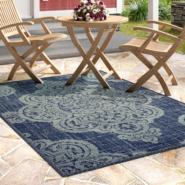 Salerno Over-scale Medallion Navy/Beige Indoor/Outdoor Area Rug by Charlton Home