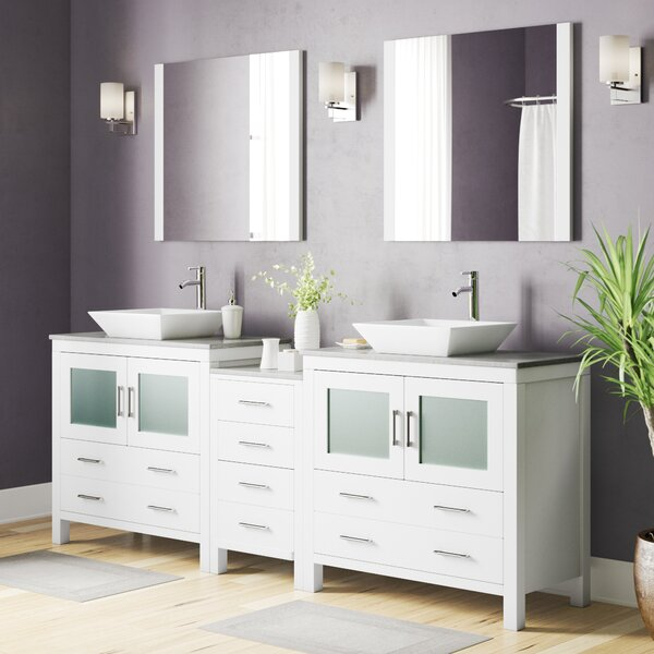 Stanardsville 91 Double Bathroom Vanity Set with White Marble Top and Mirror