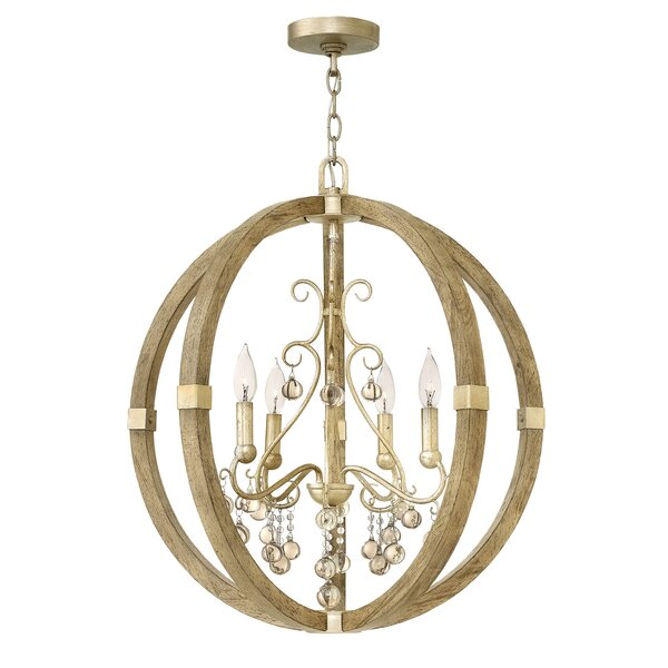 Amerigo 4 - Light Lantern Globe Chandelier with Wood Accents by Everly Quinn Everly Quinn