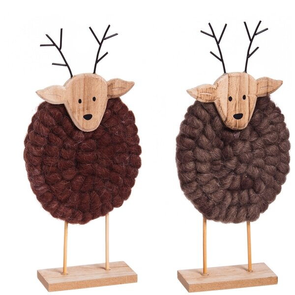 Wood/Yarn Deer Figurine (Set of 2) by The Holiday Aisle