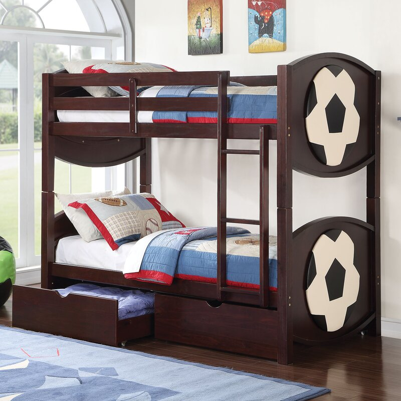 Twin Bunk Beds With Storage Part - 36: All Star Soccer Over Twin Bunk Bed With Storage