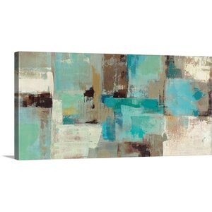 'Teal and Aqua Reflections' Painting Print on Canvas by George Oliver