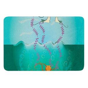 Octopus Flying Manta Rays by Famenxt Bath Mat
