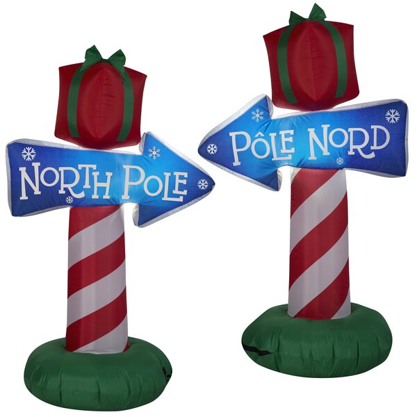 North Pole Whimsical Sign Christmas Inflatable by