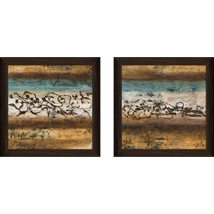 'Energy I' 2 Piece Framed Acrylic Painting Print Set Under Glass by Andover Mills