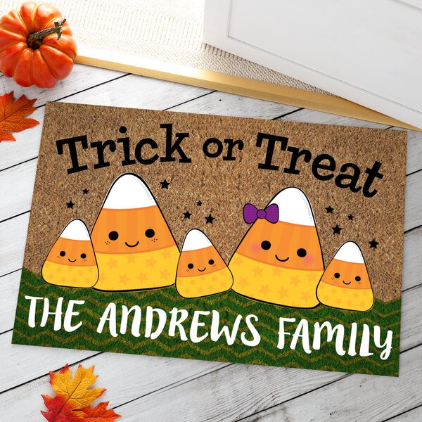 Ahlers Candy Corn Family Personalized Doormat by The Holiday Aisle