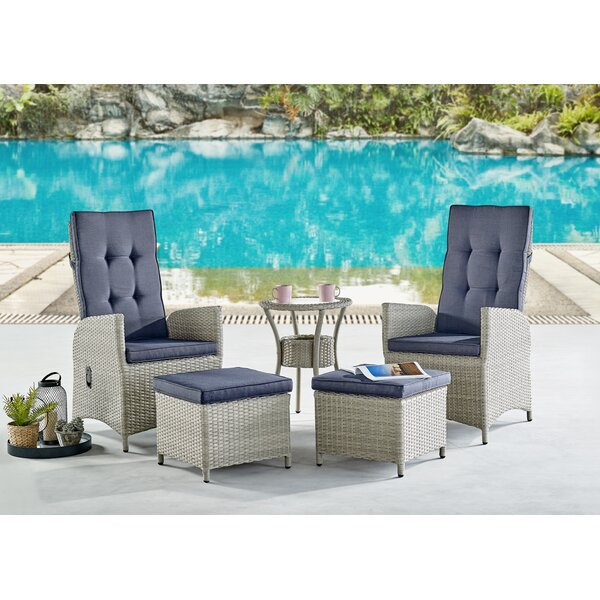 Pangburn 5 Piece Rattan Complete Patio Set with Cushions by Highland Dunes