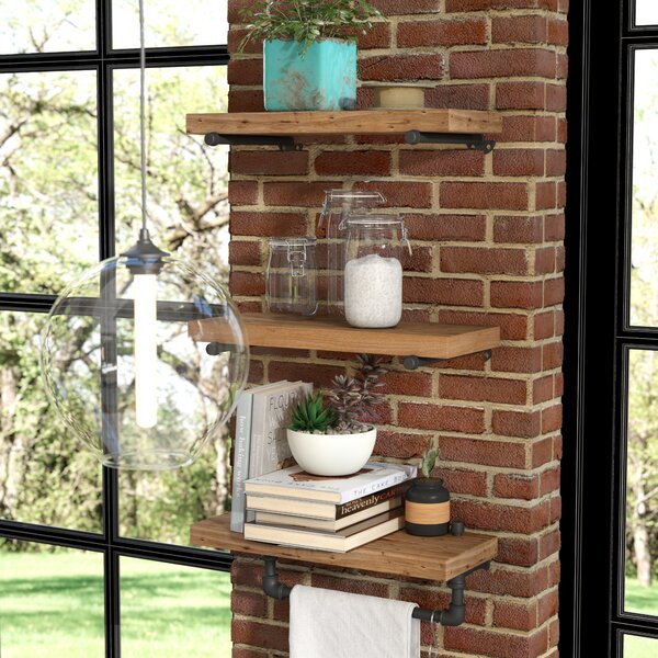 Borrero Industrial Pipe Accent Wall Shelf by Trent Austin Design