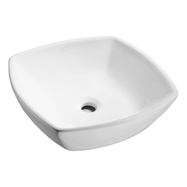 Deux Series Vitreous China Square Vessel Bathroom Sink by ANZZI