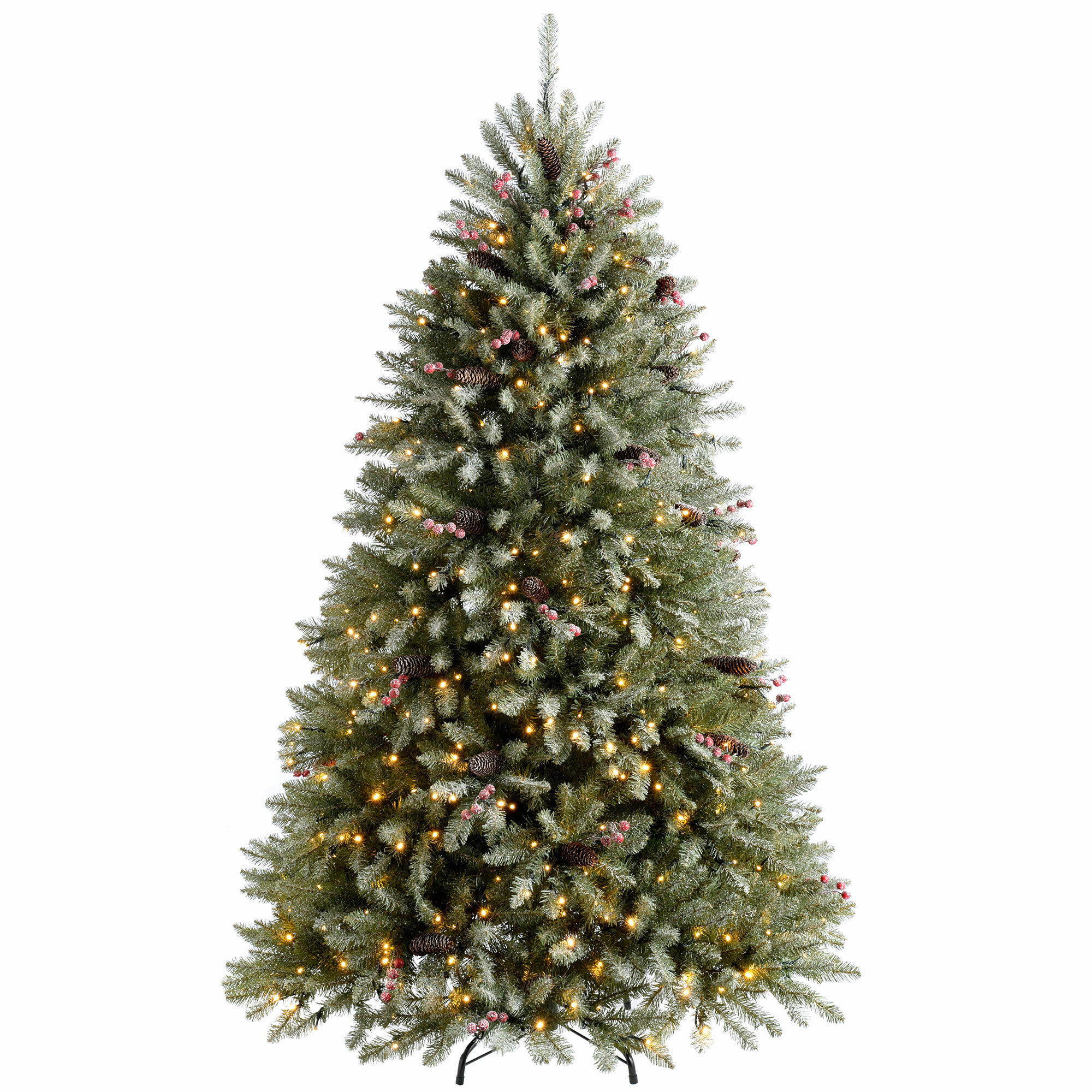 Christmas Tree Snow.Decorated Snow 7ft Green Spruce Artificial Christmas Tree With 600 Clear White Lights With Stand