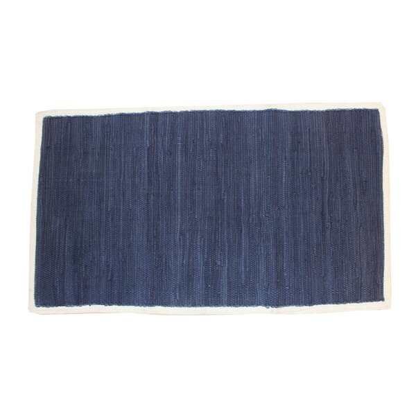 Cordero Hand-Woven Cotton Navy Area Rug by Highland Dunes