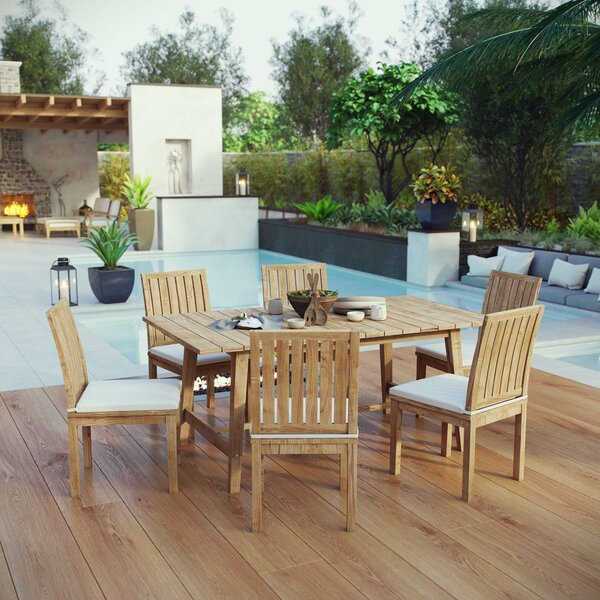 Elaina Outdoor Patio 7 Piece Teak Dining Set with Cushion by Rosecliff Heights
