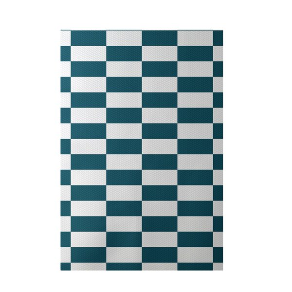 Plaid Hand-Woven Teal Indoor/Outdoor Area Rug by e by design