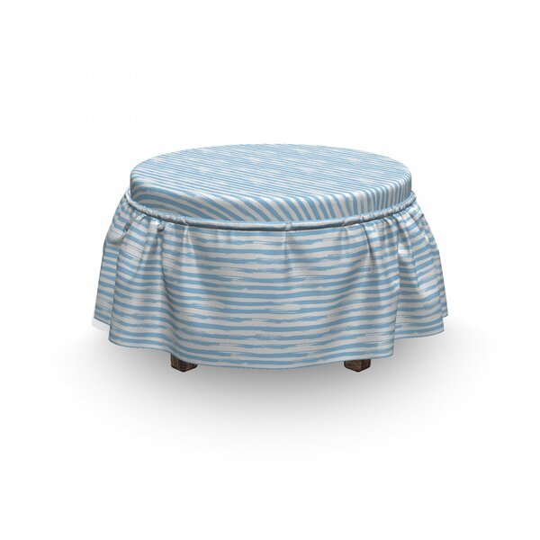 Harbour Stripe Soft Simplistic 2 Piece Box Cushion Ottoman Slipcover Set By East Urban Home