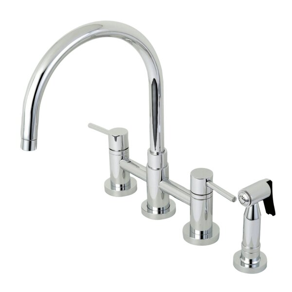 Bridge Centerset Double Handle Kitchen Faucet with Side Spray by Kingston Brass