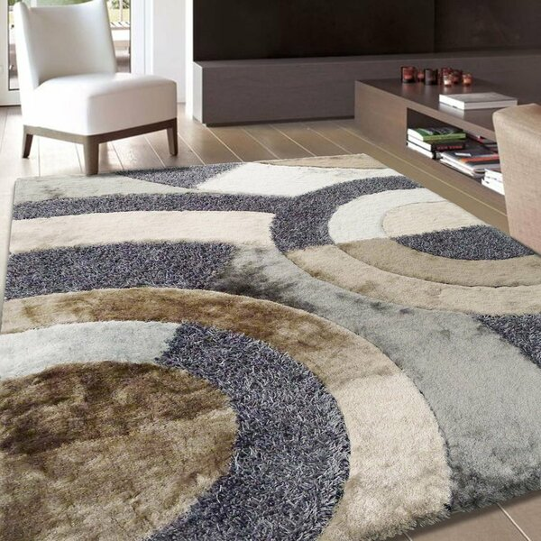 Riaria Modern Shag Hand-Tufted Beige/Gray Area Rug by Latitude Run
