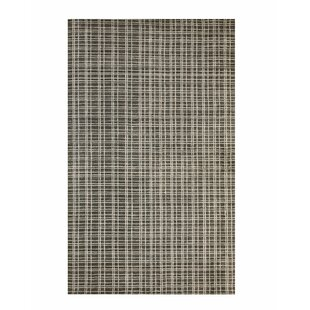 Southwell Hand-Knotted Bamboo Slat/Seagrass Black/White Area Rug By Williston Forge
