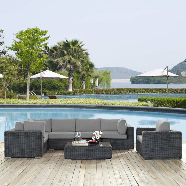 Alaia 7 Piece Rattan Sunbrella Sectional Seating Group With Cushions By Brayden Studio
