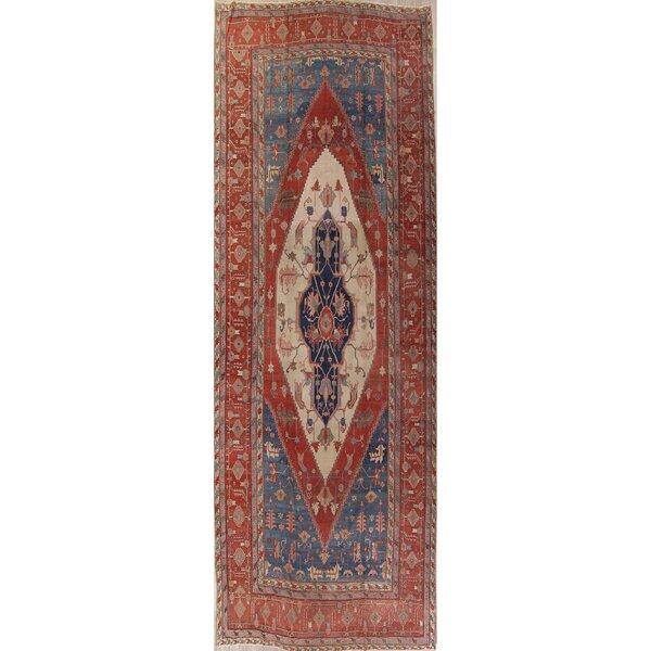 Renetta 100% Vegetable Dye Tribal Heriz Serapi Bakhshayesh Persian Handwoven Flatweave 12' x 17'8 Wool Red/Beige Area Rug