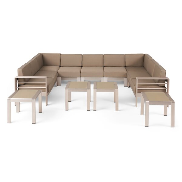 Eaker Outdoor 11 Piece Sectional Seating Group with Cushions by Orren Ellis