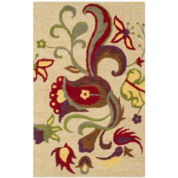 Rachel Hand-Hooked Wool Beige Area Rug by Winston Porter