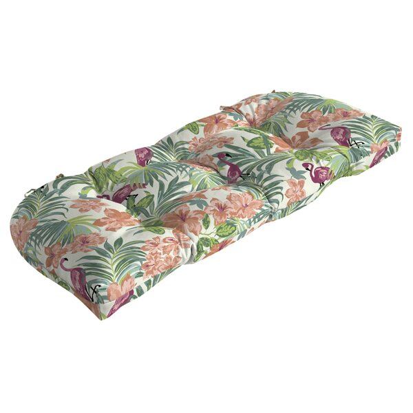 Flamingo Tropical Outdoor Bench Cushion by Bayou Breeze