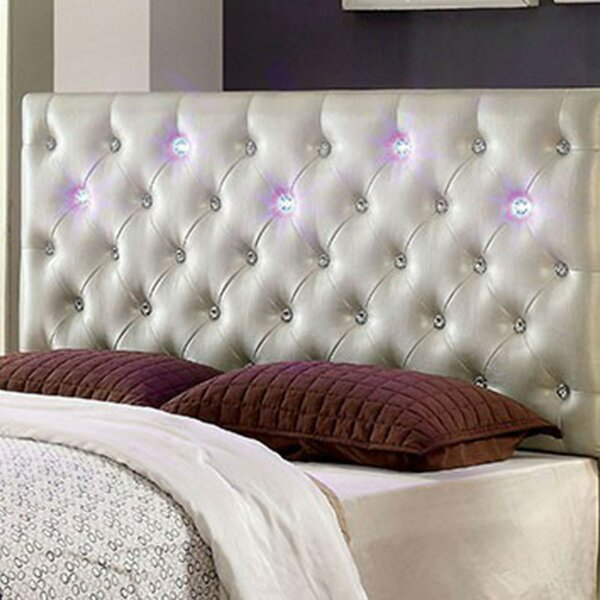 Joaquin Led Lighting Upholstered Panel Headboard by Everly Quinn