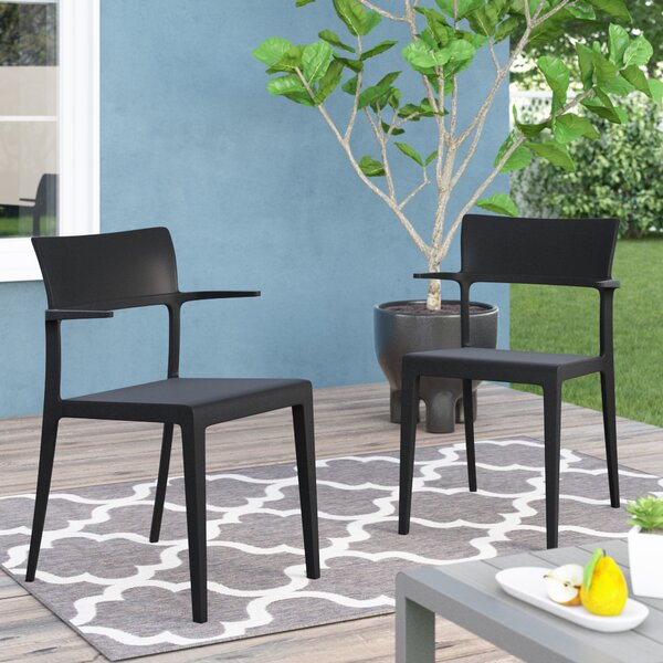 Holliston Arm Stacking Patio Dining Chair (Set of 2) by Wrought Studio